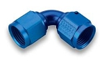 Fitting, Coupler, 90 Degree, Female -6 AN to Female -6 AN, Aluminum, Blue, Each