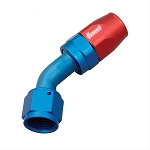 Fitting, Hose End, 45 Degree, -8 AN Hose to Female -8 AN, Aluminum, Red/Blue Anodized, Each