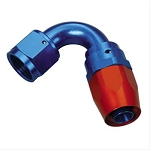 Fitting, Hose End, 120 Degree, -8 AN Hose to Female -8 AN, Aluminum, Red/Blue, Each
