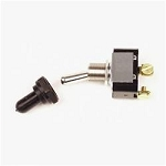 Ignition Switch, Weatherproof, Toggle, Chrome, Single Pole, 40 Amp, Heavy Duty Switch, Black Cover,