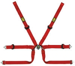 OMP Formula 2x2 FIA SL Harness, Sewn Loop, Pull Up, Red