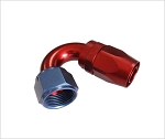 swivel hose end,150 degree -8 an hose to female -8 alum. red/blue