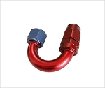 Fitting hose end 180 degree -6 an hose to female -6 alum.red/blue