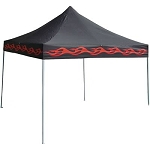 10' x 10' pop up canopy- black with red flames($9.95 extra shipping charge added)