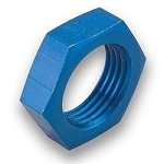 Fittings, Bulkhead Nut, -6 AN, Aluminum, Blue Anodized, Pair
