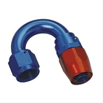 Fitting, Hose End, 180 Degree, -10 AN Hose to Female -10 AN, Aluminum, Red/Blue