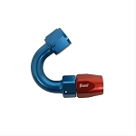 Fitting, Hose End, 150 Degree, -10 AN Hose to Female -10 AN, Aluminum, Red/Blue Anodized