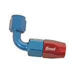 Fitting, Hose End, 90 Degree, -6 AN Hose to Female -6 AN, Aluminum, Red/Blue Anodized, Each