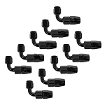 Fitting, Hose End, 90 Degree, -6 AN Hose to Female -6 AN, Aluminum, Black Anodized, Set of 10